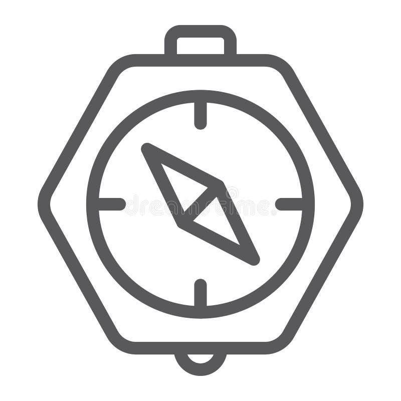 指南针线象,地理和方向,航海标志,向量图形,在白色背景的一个线性样式 皇族释放例证