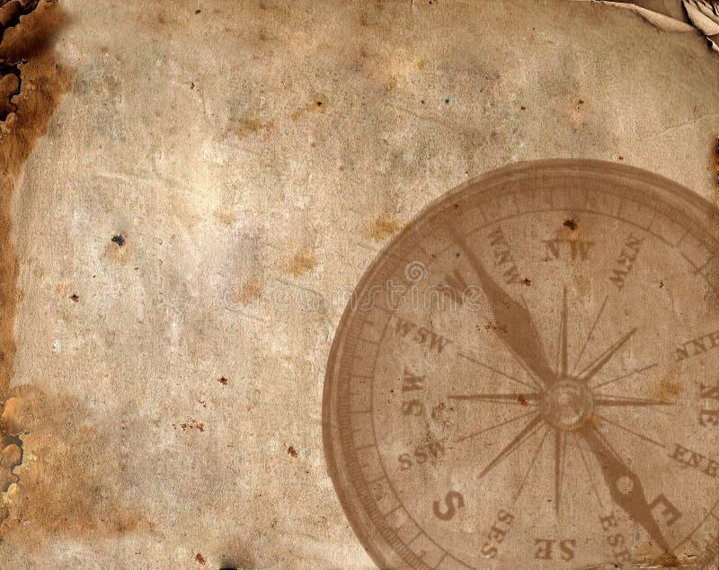 指南针老纸张 免版税图库摄影