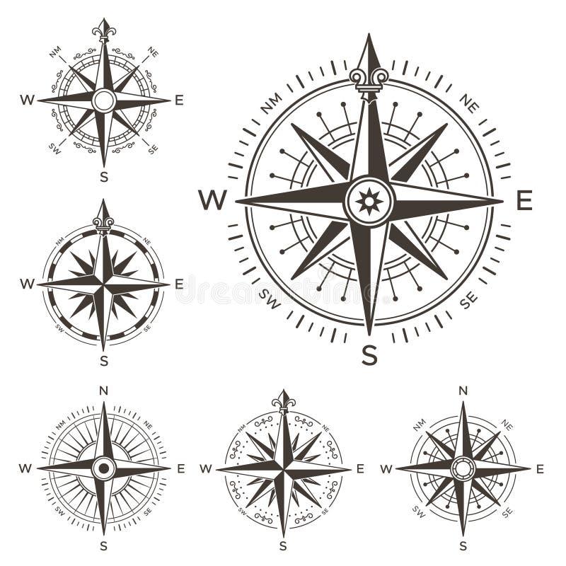 指南针船舶减速火箭 风葡萄酒玫瑰海世界地图的 被隔绝的西部和东部或者南部和北部箭头标志 向量例证