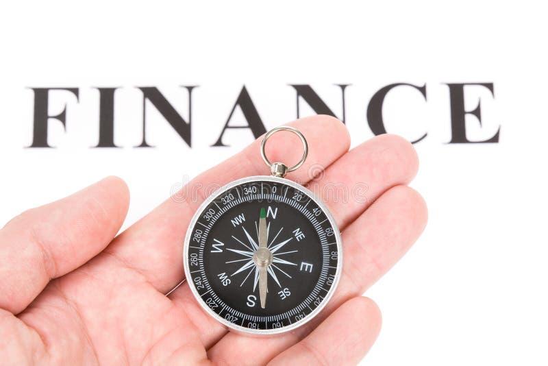 指南针财务标题 库存照片