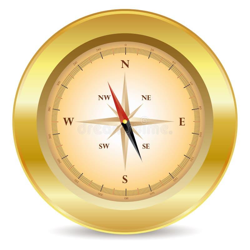 指南针金子 向量例证
