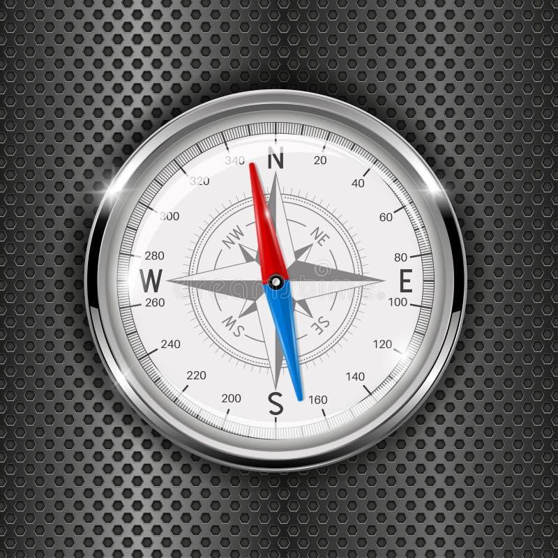 指南针 在铁穿孔的背景的金属测量仪 库存例证