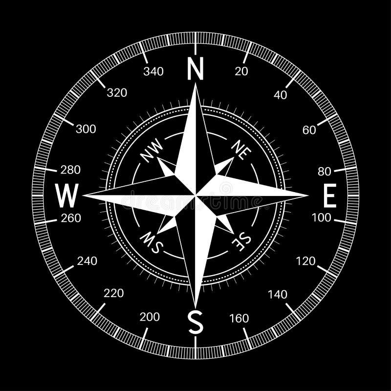 指南针 在黑背景的白色例证 皇族释放例证