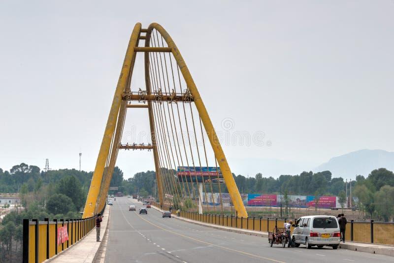 指南,中国- 2014年7月22日:黄河大桥梁(黄河 图库摄影