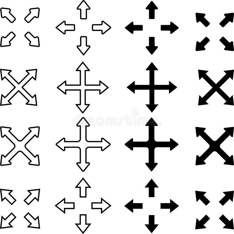指向不同的方向的设置箭头 库存例证