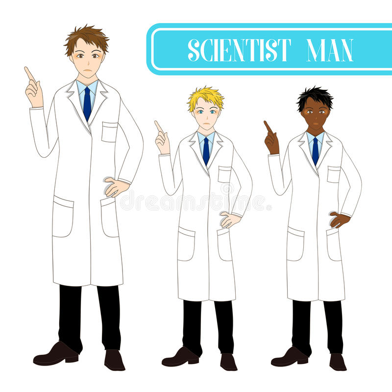指向与严肃的面孔的集合英俊的科学家人 医护人员男性 充分的身体传染媒介例证 向量例证
