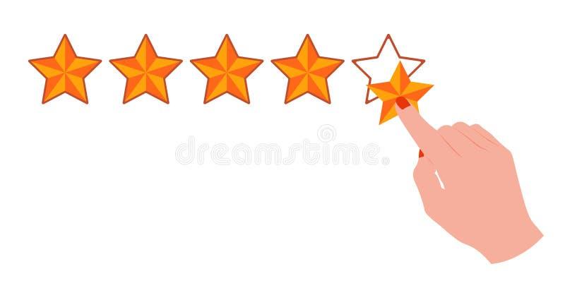 指向与在第五个星的食指的手 库存例证