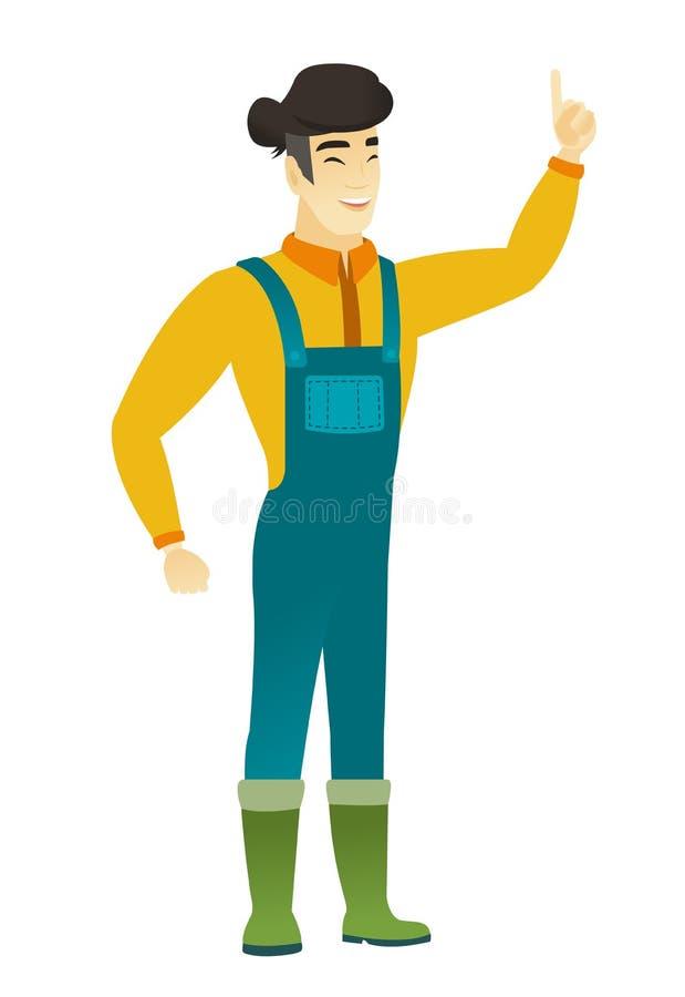 白色农夫网站_指向他的手指的全长亚裔农夫  有指点的农夫 导航在白色背景隔绝的平