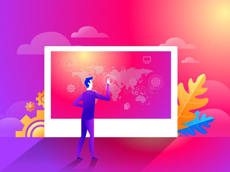 指向世界地图地理全球性提出的地点安置企业全球化概念人的商人 向量例证