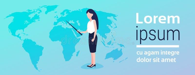 指向世界地图地理全球性提出的地点安置企业全球化概念妇女的女实业家 皇族释放例证