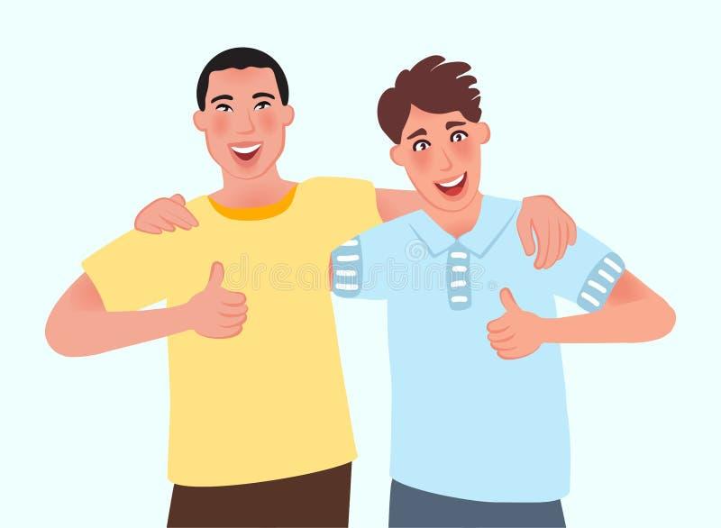 指向人的朋友拥抱和,一切将是美好的 友谊,通信,会议 也corel凹道例证向量 皇族释放例证