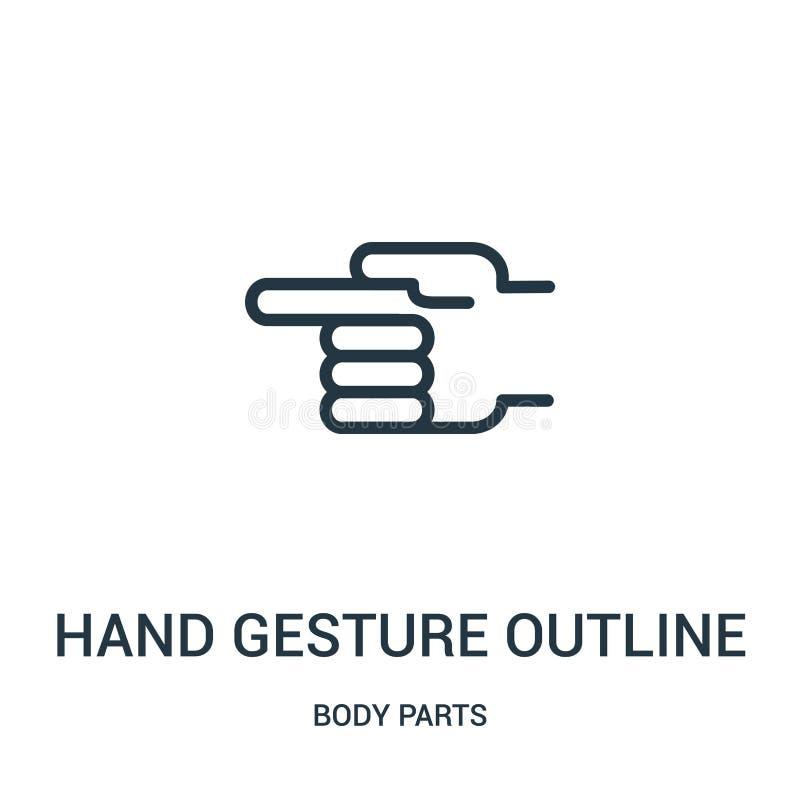 指向从身体局部汇集的左象传染媒介的手势概述 稀薄的线指向的手势概述 库存例证