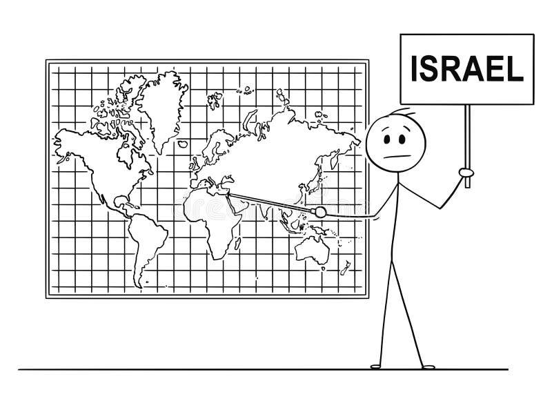 指向以色列的人动画片墙壁世界地图的 皇族释放例证