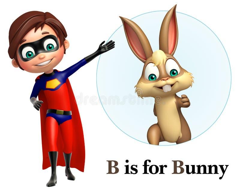 指向兔宝宝的超级男孩 向量例证