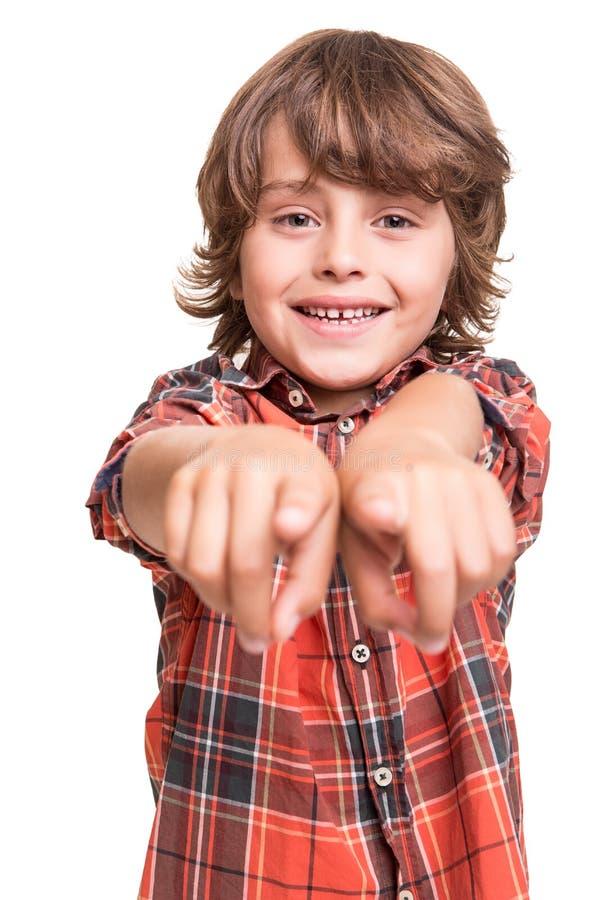 指向前面的男孩 免版税图库摄影