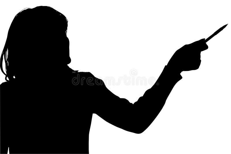 指向剪影妇女的裁减路线 向量例证