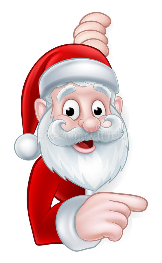 指向动画片标志的圣诞老人 库存例证