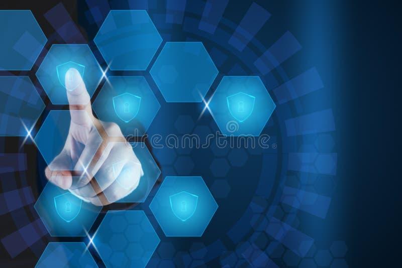 指向在六角虚屏的商人盾象 数据保护和网络安全概念 库存例证