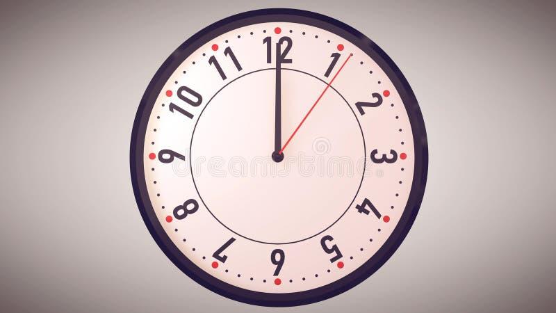 指向在时钟表盘的午间的手 皇族释放例证