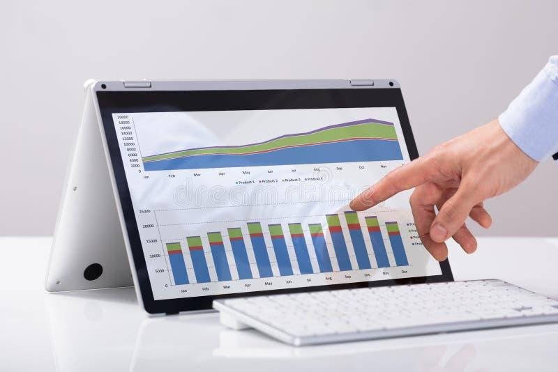 指向在杂种膝上型计算机屏幕的图的商人 免版税库存照片