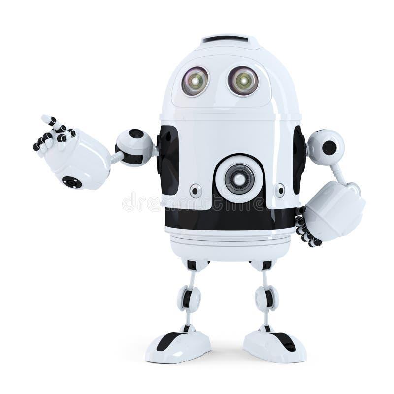 指向在某事的逗人喜爱的机器人 皇族释放例证