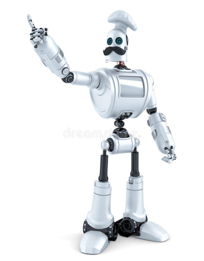 指向在白色背景的机器人厨师 3d例证 Isol 库存例证