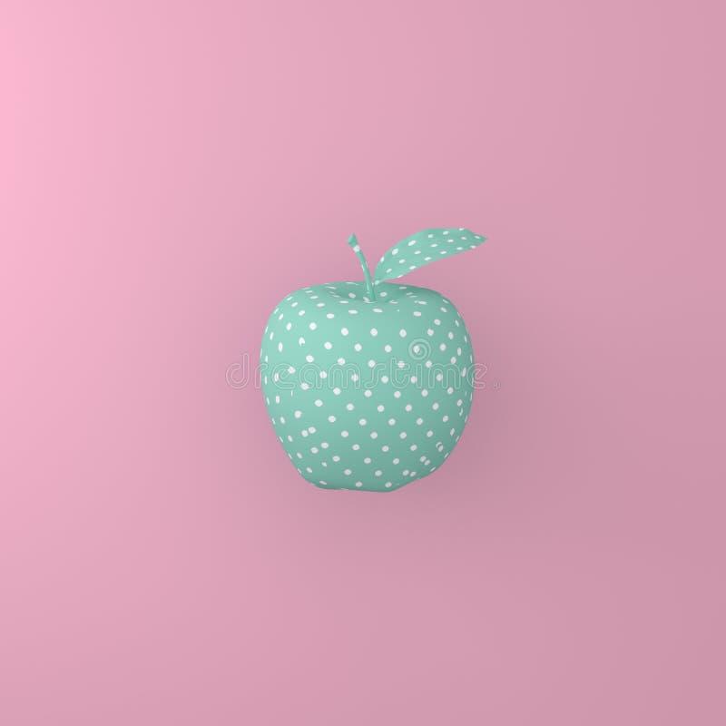 指向在绿色苹果的样式白色在桃红色背景 最小的i 免版税库存图片