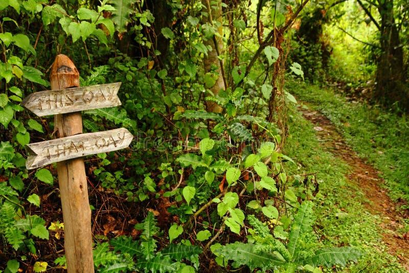 指向在道路下的滑稽的庭院路标志 图库摄影
