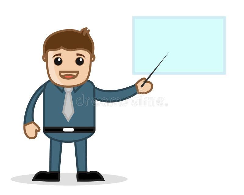 指向在介绍-办公室和商人漫画人物传染媒介例证概念 库存例证