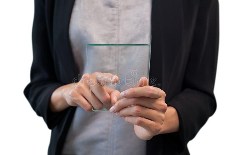 指向在玻璃接口的女实业家的中间部分 库存照片