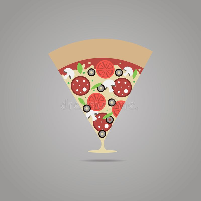 指向地图的比萨标志 比萨店象征 意大利料理餐馆标志 比萨地点 向量例证