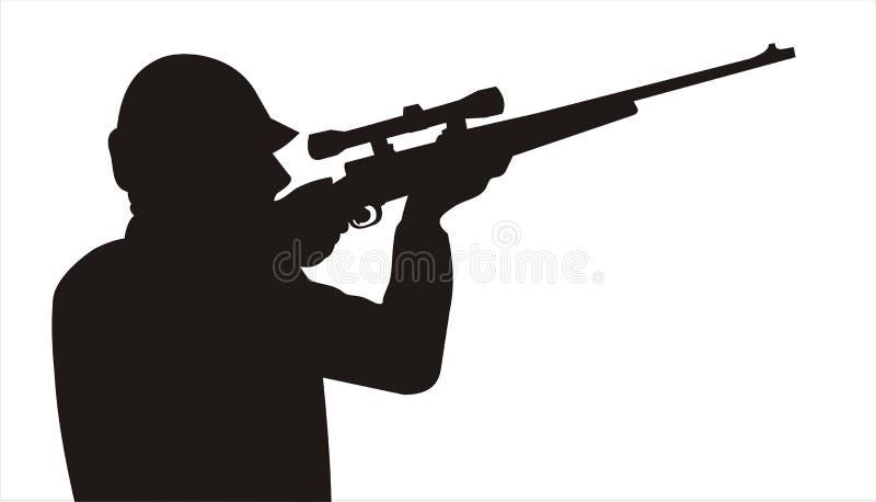 指向天空的枪猎人 库存图片