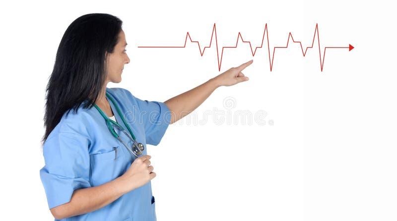指向妇女的医生心电图 免版税库存照片