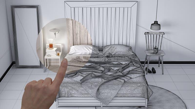 指向室内设计项目,家庭项目细节的手,决定装备或改造概念的房间,当代bedro 图库摄影