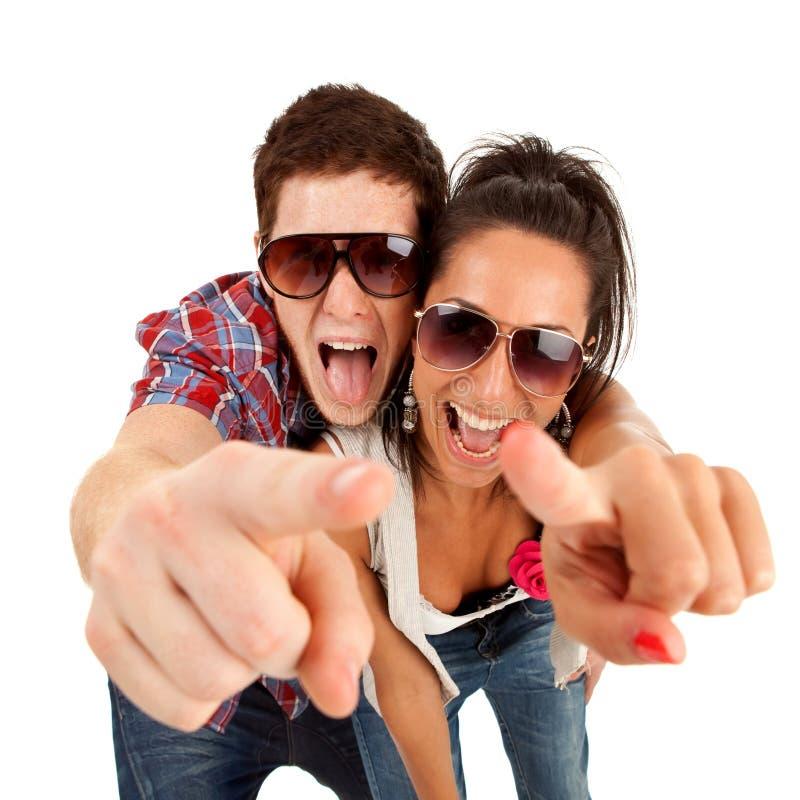 指向尖叫的夫妇您 免版税图库摄影