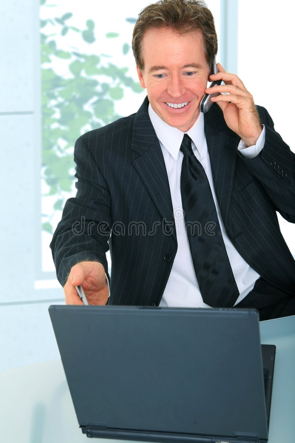指向屏幕前辈的生意人膝上型计算机 免版税库存图片
