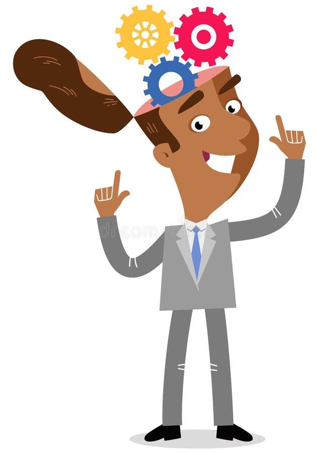 指向嵌齿轮的一个亚洲动画片商人的传染媒介例证把他的头引入 向量例证