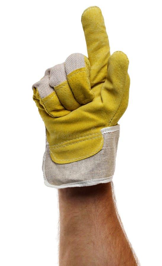 指向工作者的手指手套 免版税图库摄影