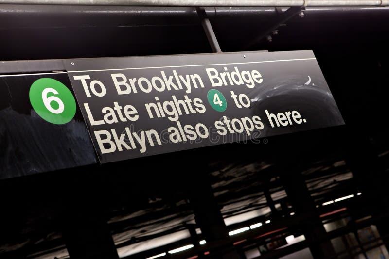 布鲁克林NYC地铁标志 库存图片