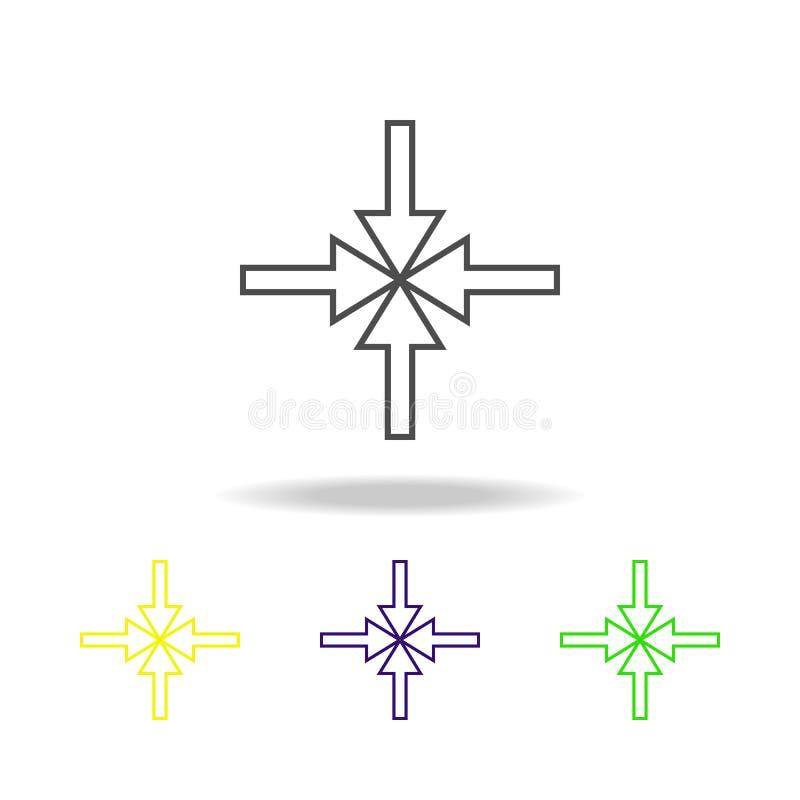指向往中心多彩多姿的象的箭头 网站设计和应用程序发展的稀薄的线象 优质色的网 库存例证