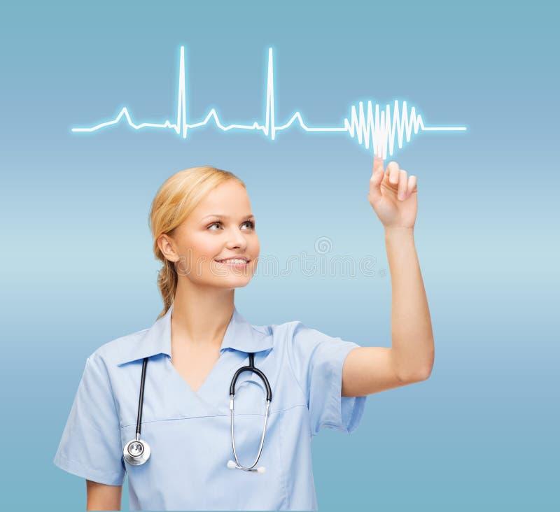 指向心电图的微笑的医生或护士 库存照片