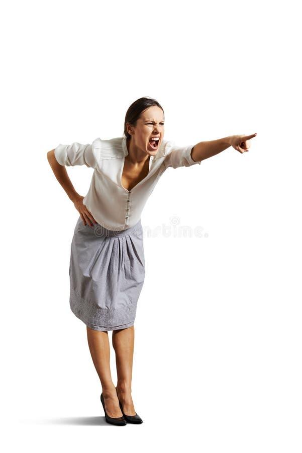 指向恼怒的妇女尖叫和 免版税库存图片