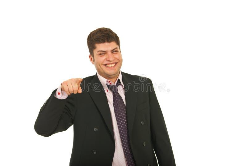 指向您的企业笑的人 免版税库存照片