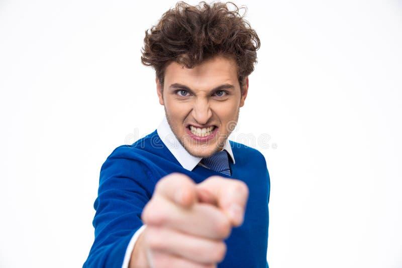 指向您的恼怒的年轻人 库存照片