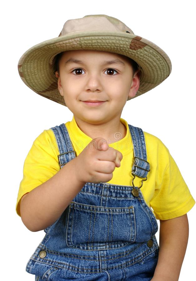 指向您的手指孩子 免版税库存照片