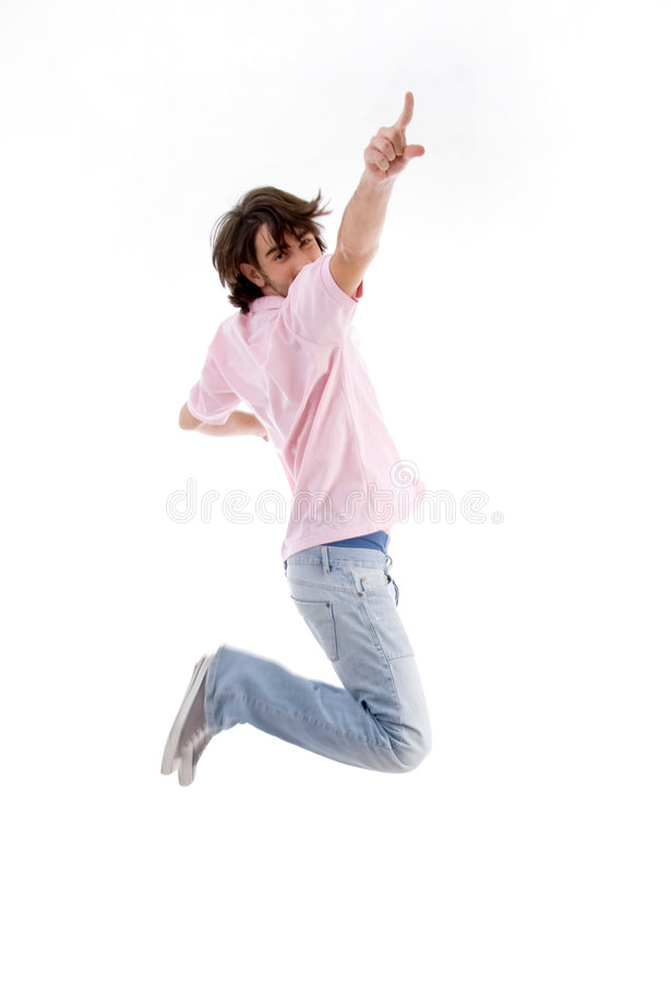 指向您的跳的人 免版税图库摄影
