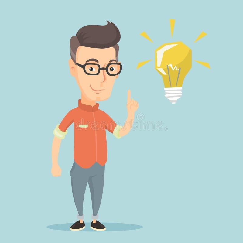 指向想法电灯泡传染媒介例证的学生 向量例证