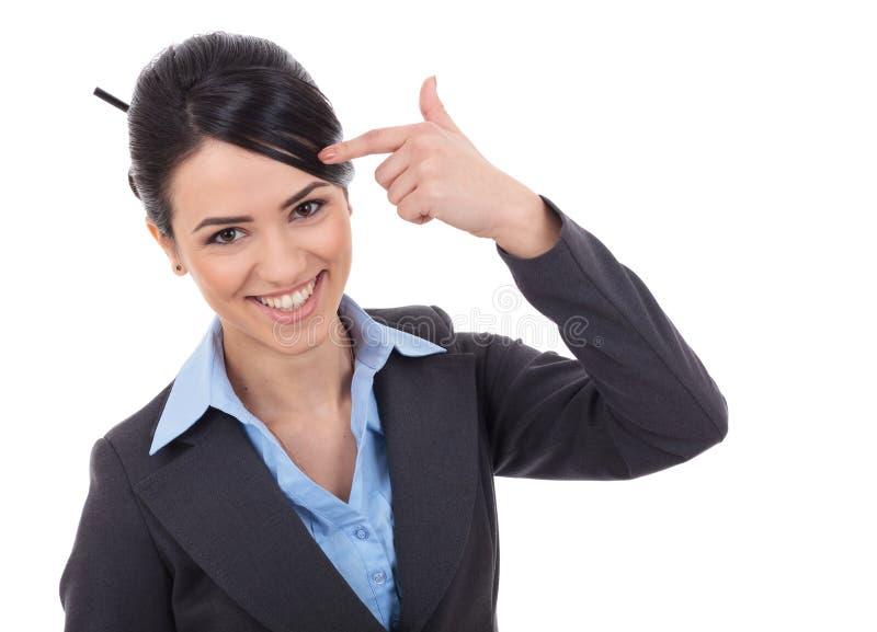 指向想法的女实业家 免版税库存照片