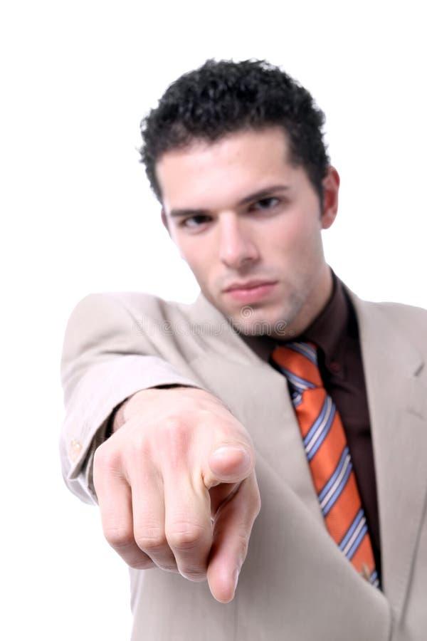 指向成功的年轻人的生意人 库存照片