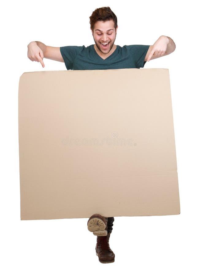 指向手指的人下来空白的海报 免版税库存图片